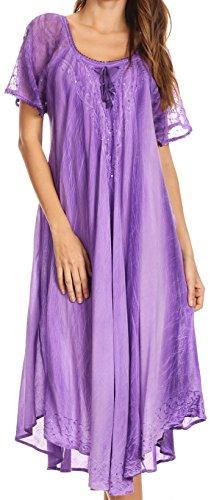 Sakkas 17604 - Myani Two Tone Gestickte Sheer mit Flügelärmeln Kaftan langes Kleid | Cover Up - Purple - OS -