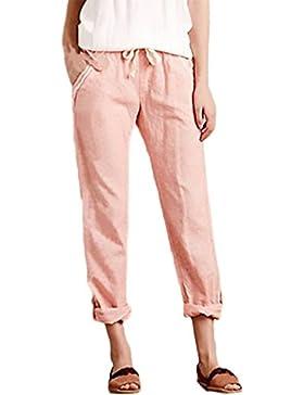 Pantaloni Donna Eleganti Moda Puro Colore Casual Taglie Forti Baggy Comode Con Elastico In Vita Pantalone Lino