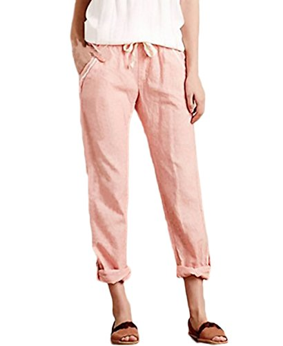 Hose Damen Frühling Elegant Fashion Einfarbig Perfect Pin-up Locker Bequeme Große Größen 7/8 Hosen Leinenhose Freizeithose (Color :...