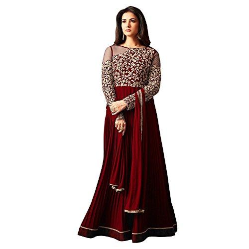 Ethnic Empire Designer Maroon Faux Georgette Festive Wear Anarkali Salwar Kameez (EthnicNew_ER10490_free...