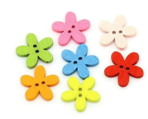 , Colorful Flower Form Tasten Mixed Candy Tasten für Heimwerker Craft Nähen Stricken Scrapbooking Decor 15mm ()