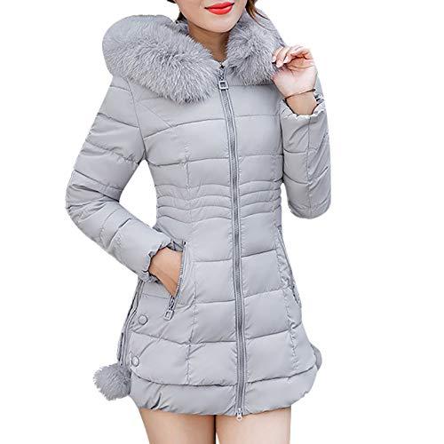 ICNCVKX Women Hooded Outwear,Mäntel Für Schwanger,Baseball Fan-Trikots Für Damen,Warm Coat Long Thick (L, Gray)