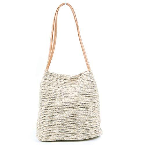 TOBEEY Frauen-große Kapazitäts-Strohbeutel-beiläufige Sommerferien-Schulter-Beutel-Damen, die Eimer-Strand-Handtasche spinnen
