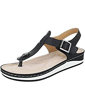Zehentrenner Damenschuhe Peep-Toe Zehentrenner Schnalle Ital-Design Sandalen / Sandaletten