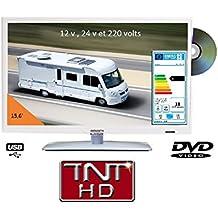 Televisión TV HD LED + DVD 39,6cm blanca 220V/12V/24V Camping Car