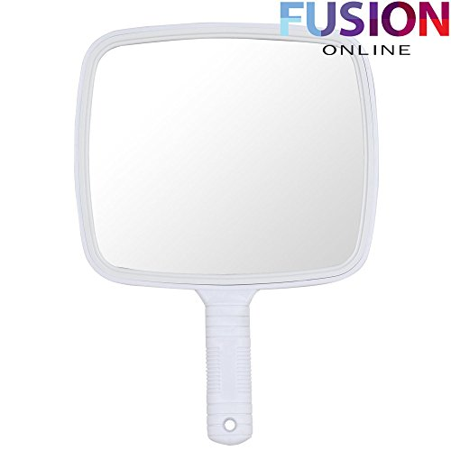 Evelyn Living Professional White Hand Held Mirror Salon Style Hand Held Vanity Mirror Makeup Tool