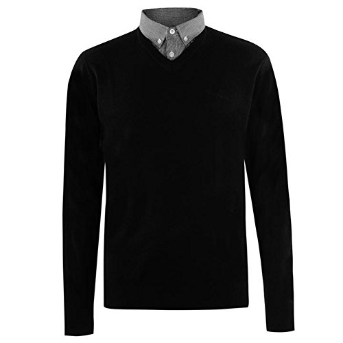Pierre Cardin Mens New Season Mock V-Neck Knitted Jumper with Shirt Collar Insert (XL, Black)