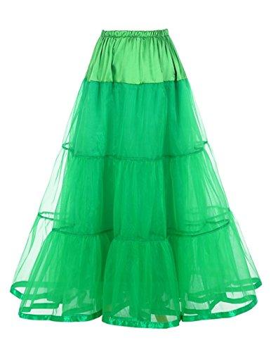 Honeystore Damen's Hochzeit Unterkleid Lang Ballet Petticoat Tutu Rock Grün