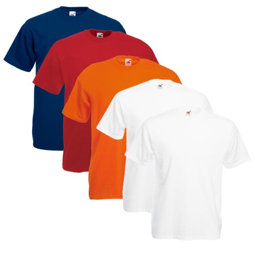 Fruit Of The Loom Original T 5-Pack Logo Men's T-Shirt red