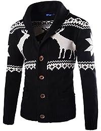 Weihnachten Strickjacke Herren Winter cute Rentier Gestrickt  Weihnachtspullover Cardigan Pullover Retro Strickjacke Strickwaren Mantel  langarm Sweatshirt e37fa8d359