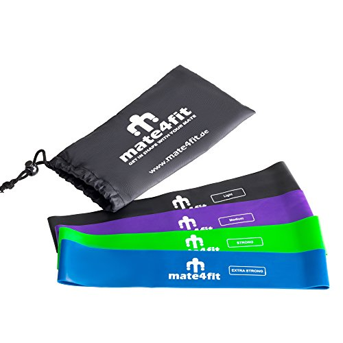 Mate4fit Fitnessband 4er Set I Mit Übungsanleitung und Videos – Resistance Bands I Fitnessbänder für Yoga, Pilates, Reha-Sport, Physio & Home Workouts