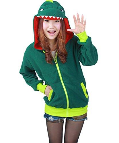Magicmode Womens Cartoon Anime Hoodies Jacke Unisex Tiere Reißverschluss Sweatshirt Mantel Cosplay Kostüme Grüner Dinosaurier ()