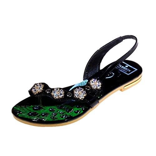 UH Femmes Sandales à Talons Plates Bout Ouvert Vernis avec Strass Fleurs et Floral Classique et Loisirs Noir