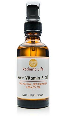 Aceite de belleza de vitamina E, natural de Radiant Life, el mejor para la piel, el cabello, las uñas y los labios. Repara y rejuvenece la piel y las cicatrices, hidrata, fortalece y acondiciona las uñas y el cabello. Aceite de belleza 4 en 1