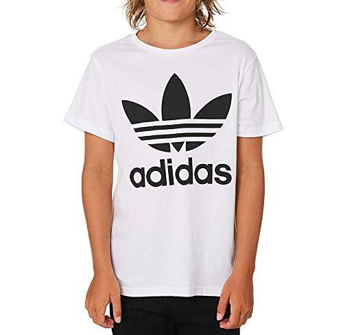 Adidas trefoil tee, t-shirts unisex bambini, white/black, 13-14a