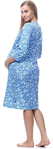 Be Mammy Damen Stillnachthemd BE20-167 Blaue Blumen