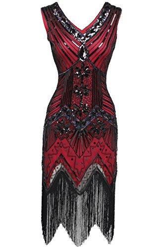 BABEYOND Damen Flapper Kleider voller Pailletten Retro 1920er Jahre Stil V-Ausschnitt Great Gatsby Motto Party Damen Kostüm Kleid (Größe S / UK8-10 / EU36-38, Rot)