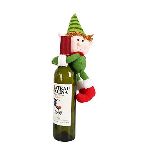 Hey~Yo Weinflasche Tuch Puppen Weihnachten Tischdekoration Weinflasche Abdeckung Weinflasche Dekoration 13*25cm (Kostüm Xiii Red)