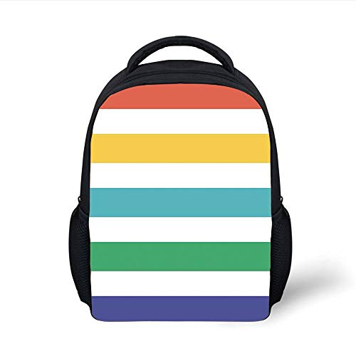 Kids School Backpack Striped,Rainbow Colored and White Fun Horizontal Lines Kids Room Red Yellow Blue Green Art,Multicolor Plain Bookbag Travel Daypack