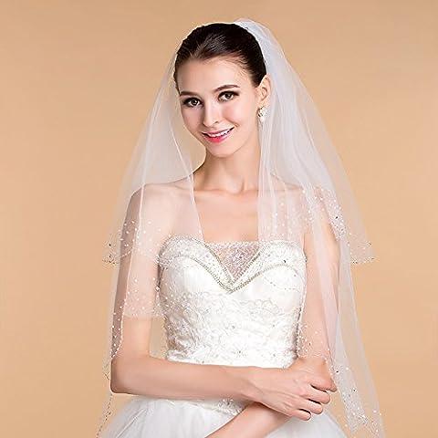 Adornos de boda del color sólido de doble - capa hecha a mano del grano espumoso blanco de marfil del velo de novia Estética