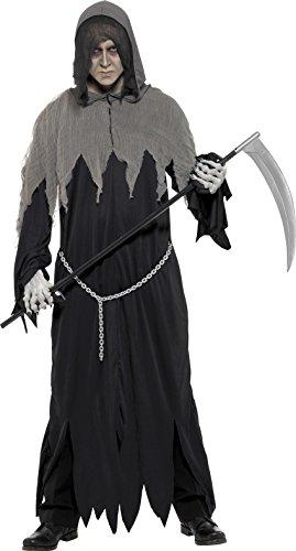 Halloween Ideen Kostüm Robe (Smiffys, Herren Sensenmann Kostüm, Robe mit Kette und Kapuze, Größe: M,)