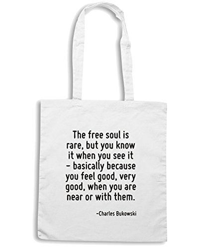 T-Shirtshock - Borsa Shopping CIT0212 The free soul is rare, but you know it when you see it Bianco