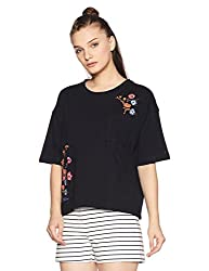 Tommy Hilfiger Womens Printed T-Shirt (A7AJK165_Black Beauty_M)