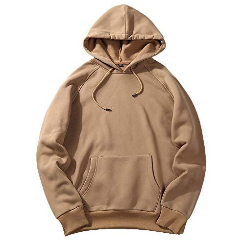 UJUNAOR Herren Langarm Hoodie T-Shirt Kapuzenshirt Mit Kapuze Männer Pullover in Vielen Farben(Khaki,S)