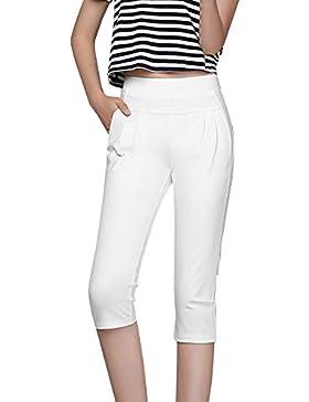 ShiFan Mujer Pantalones Casual Corto 3/4 Cintura Alta Elegantes De Los Deportes Pantalones