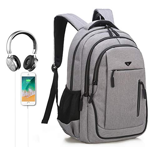 GUAHOME Laptop Rucksack, Business Rucksack für, Schultaschen, 35L Supergroßer Laptop Rucksack für 15.6 Zoll Notebooks Reise Wasserabweisend, USB Charging Port und Headphone Port (Schneeweiße Asche)
