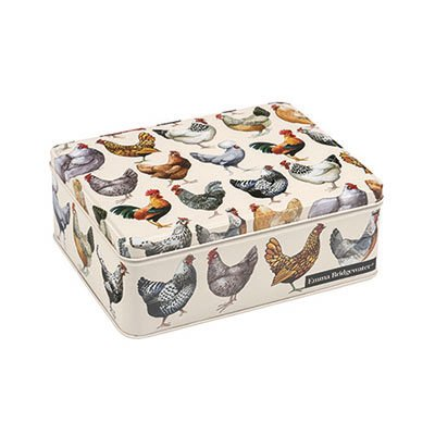 Emma Bridgewater Hens Deep Rectangular Tin - This rectangular tin is designed for storage of cakes, biscuits and treats featuring the Hens design from Emma Bridgewater.