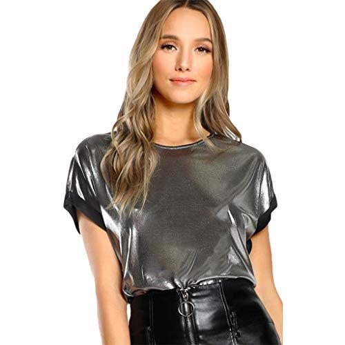 CRRE Damen Kurze Ärmel T-Shirt Unterhemd Shirts Glänzend hip hop T-Shirt Silber Oberteile Disco Hemd Tanz Kleidung Crop Top