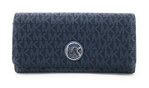 Michael Kors Geldbörse, 20x10x4 cm, Echtes Leder, FULTON, Damen, MK-Logo (Blau)