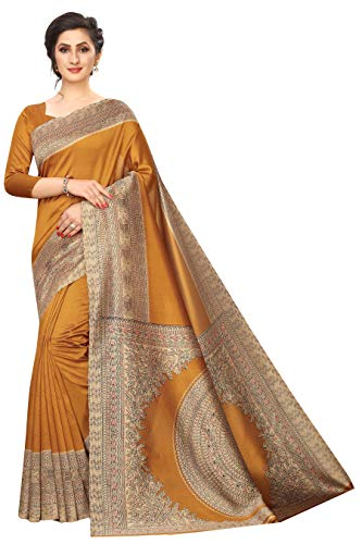 Indian Women's Art Silk Kalamkari and Bhagalpuri Style Sari with Blouse Piece Kalamkari 13 Mustard