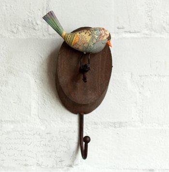 Crochet Mural Vintage Design Decoratif Porte Clés Original Oiseau Art Peinte à la Main