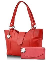 Butterflies Women's Handbag (Red) (BNS MJ018)