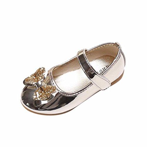 Byste scarpe da bambina scarpe da principessa bowknot smerigliata ballerine scarpe singole ragazze mary jane scarpe basse principessa bridal partito formale scarpe da danza (26 eu, oro)