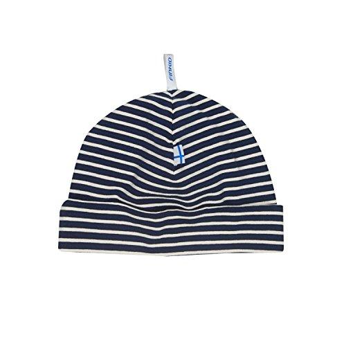 Zwergen-helm (Finkid Hittili navy offwhite gestreifte Kinder Jersey Beanie Mütze)