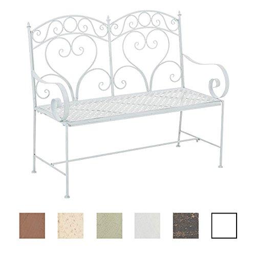 CLP Gartenbank SALIM im Landhausstil, aus lackiertem Eisen, 107 x 50 cm - aus bis zu 6 Farben wählen Antik Weiß