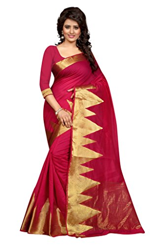 JD Creation Cotton Silk banarasi Sarees With Unstiched Blouse Piece