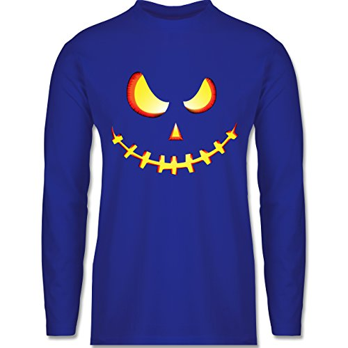 Shirtracer Halloween - Gruseliges Kürbis-Gesicht - Herren Langarmshirt Royalblau