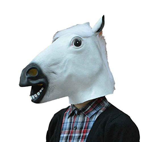 Kostüm Fahrrad Pferd - AZZRA Pferdekopfmaske Halloween Maske Latex Tiermaske Pferdekopf Pferd Kostüm für Halloween Karneval Maskenball Unfug Cosplay Masken, Ideal für Kostüm, Party, Festival, Cosplay, Cheetau