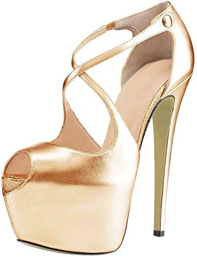 uBeauty Damen Pumps Stilettos High Heels Peep Toe Glitzer Übergröße Sandalen mit Plateau Corss Ankle Strap Schuhe Gold Pu