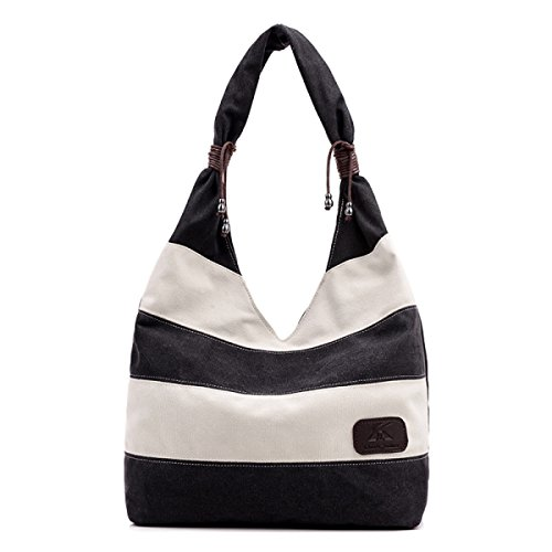 Donna Tela Borsa Hobo Shopper Tote Stripe Borsa Multi-Colour Cucito Borsa A Tracolla Black