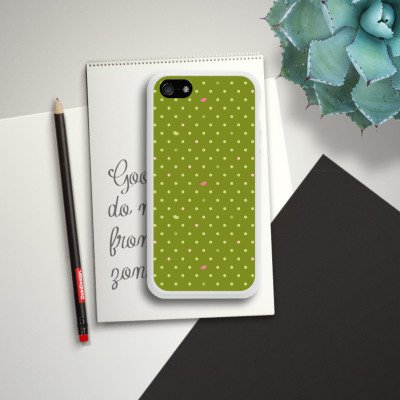 Apple iPhone 5s Housse Étui Protection Coque Points Vert Motif Housse en silicone blanc