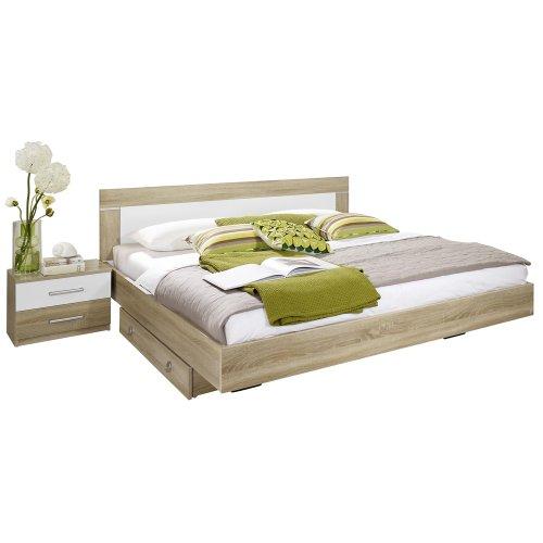Rauch Bett 160x200 mit 2 Nachttischen Eiche Sonoma, Absetzungen Weiß Alpin, Stellmaß LxBxH 205x265x83 cm