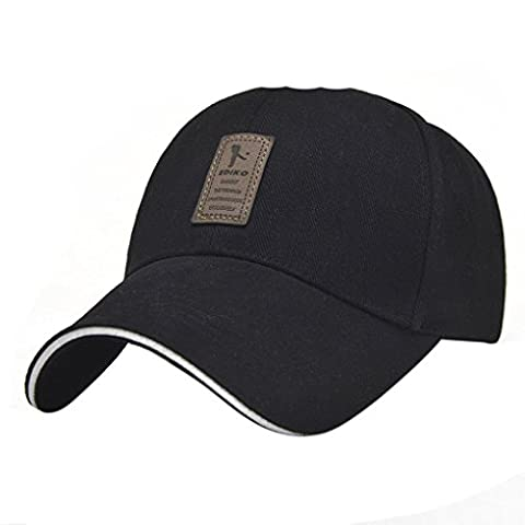 LUFA Coton Sport Outdoor Pure Color Men Baseball Cap Casual Chapeau de soleil noir