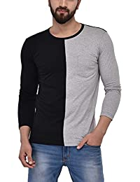 Unisopent Mens Colored Blocked T-shirt With Pocket(Grey_Black