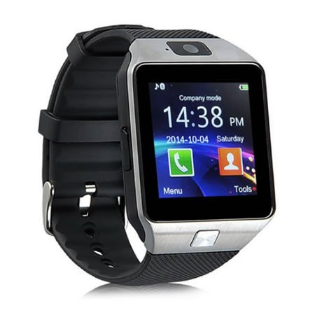 Yuntab SW01Watch Bluetooth Smart Watch Fitness Handgelenk-Verpackungs-Uhr-Telefon mit Kamera-Touch Screen für iPhone Samsung HTC LG Android Phone Smartphone mit SIM-Karte (Schwarz)