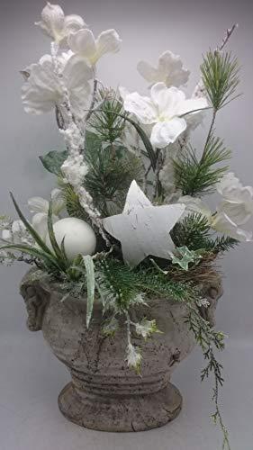 Weihnachtsgesteck Wintergesteck Winterdeko Kunstfloristik Blüten Kugeln Stern